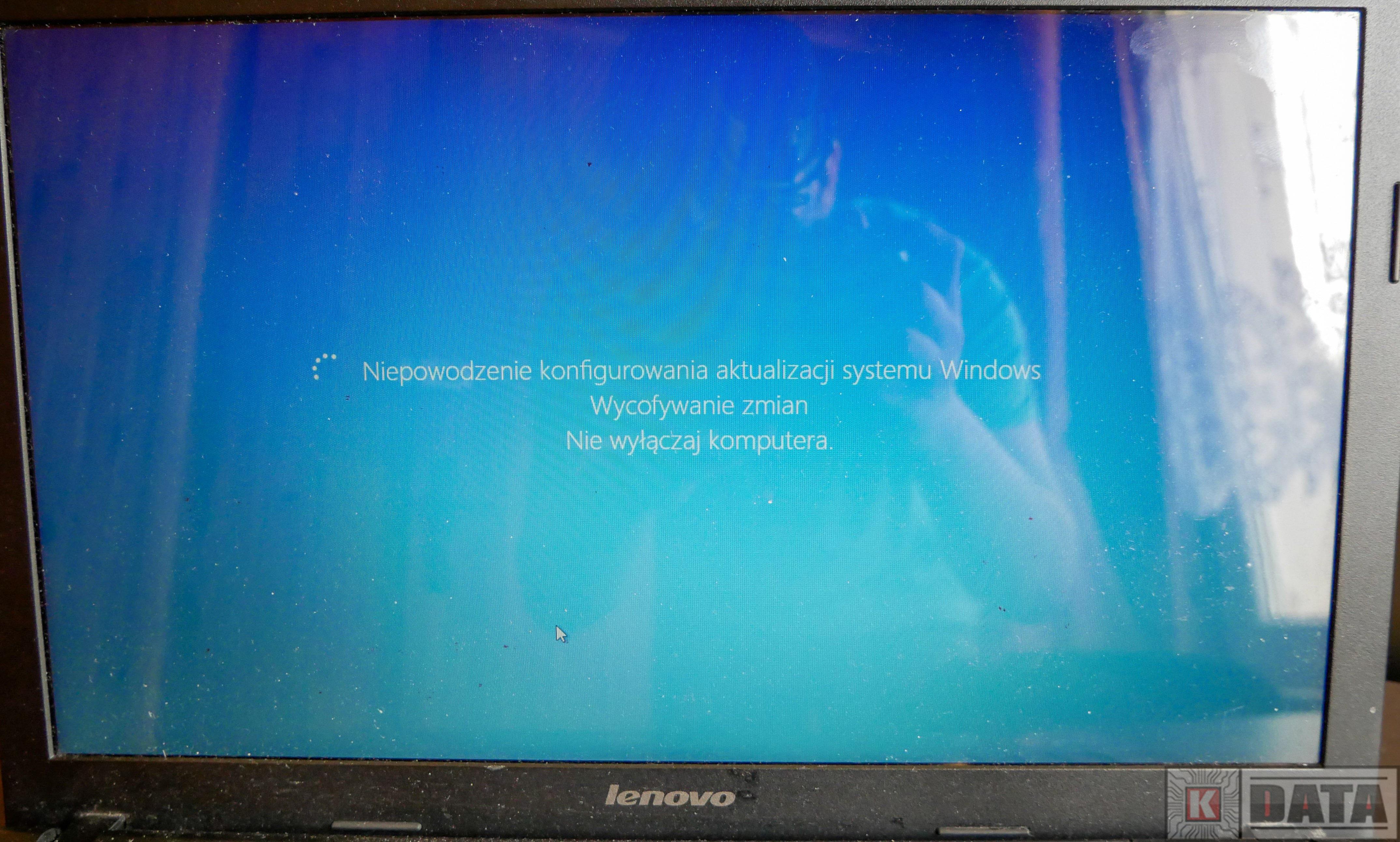 Lenovo Ideapad G500 Nieudana aktualizacja systemu Windows