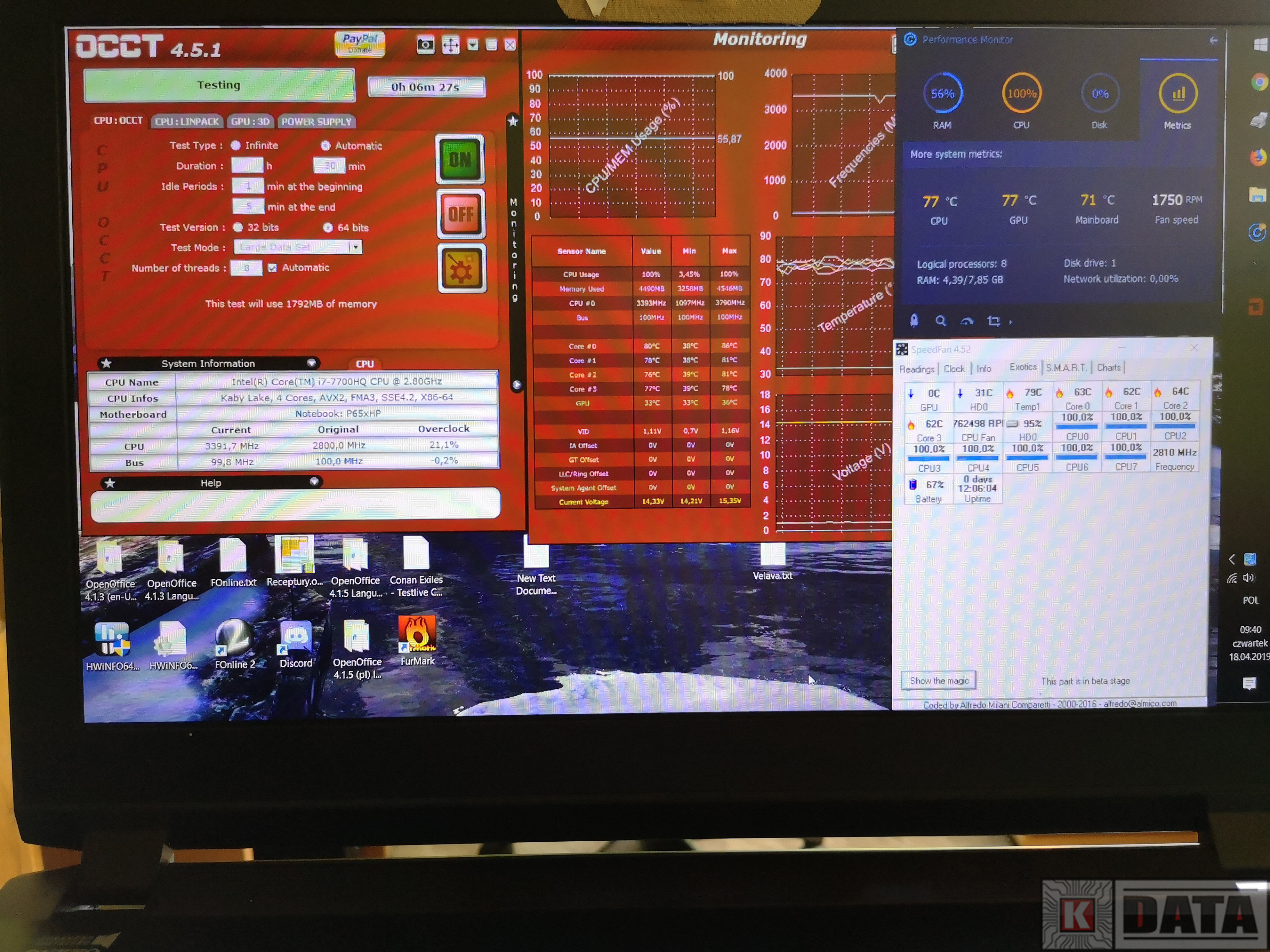 CLEVO P650HP temperatury przed serwisem