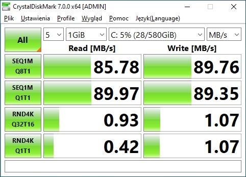CrystalDiskMark HDD test