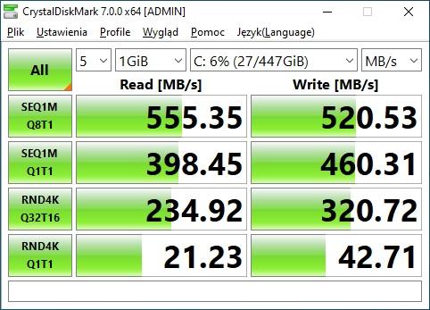 CrystalDiskMark SSD test